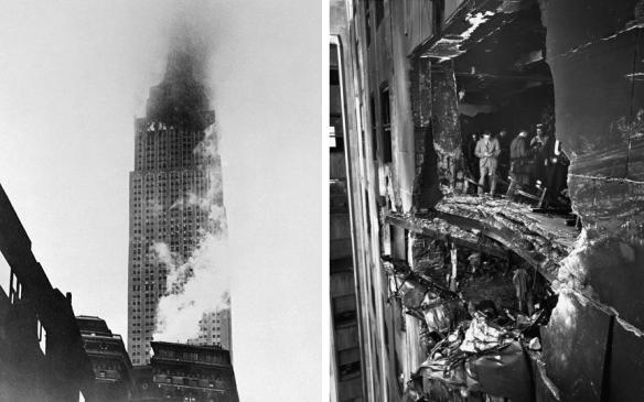The Empire State Building on fire and the damage caused by the B-25 bomber.