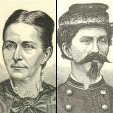 Loreta Velazquez, without and with her soldier's disguise.