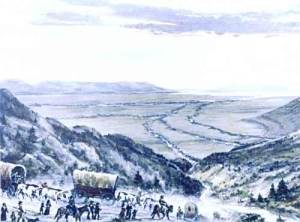 Mormons drove wagons down Emigration Canyon into the Salt Lake Valley.