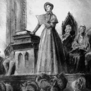 Elizabeth Cady Stanton addresses the first woman's rights convention in 1848.