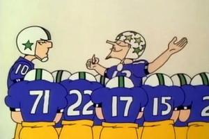 Doonesbury's Zonker Harris enjoyed the occasional huddle toke. That looks like football, Willie Nelson-style.