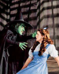 Garland with Margaret Hamilton, the Wicked Witch of the West.