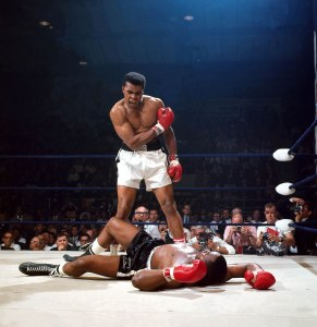 Leifer's most celebrated adult photograph: Muhammad Ali standing over Sonny Liston after a first-round knockout in 1965.