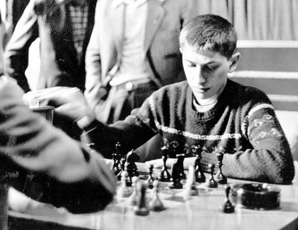 1958 Bobby Fischer is seen playing a practice round with Soviet grandmaster Tigran Petrosian at the Central Chess Club in Moscow in the Soviet Union in June  -2